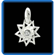 Silver 9 Pointed Star with Genuine White Sapphire