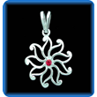 Silver Pendant Star with Genuine Ruby